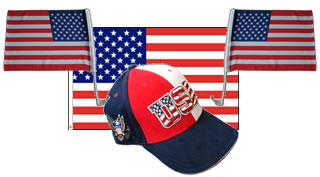 Fanset USA Flag Cap two Carflag